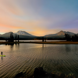 Sparks Lake and Paddle Boater by JR Hudson | Scenic Edge - Landscapes Mountains & Hills ( afterglow, oregon, stand up paddle, scenic edge, alpineglow, sunset, sparks lake, lake, scenery, landscape, sup, photography )