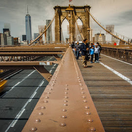 fast by Jorge Igual - City,  Street & Park  Street Scenes ( taxi, lines, yellow, bridge, new york )
