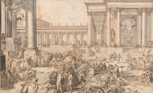 This study for a print by <b>Sébastien Leclerc I</b> is exceptionally highly detailed. It depicts the imaginary union of the Academy of Sciences and the Academy of Fine Arts.