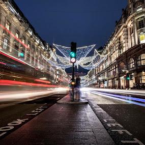 Low Light Regent Street, London by Neil Hannam - City,  Street & Park  Night