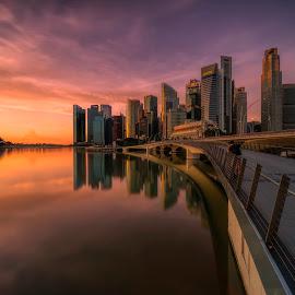 by Gordon Koh - City,  Street & Park  Vistas ( sunrise, reflection, city, asia, daen, city park, skyline, morning )