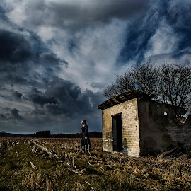alone in the storm by Mirko Webster - Landscapes Cloud Formations ( clouds, tree, grass, female, blackdress, storm, alone, direlict, lonesome, abandoned )
