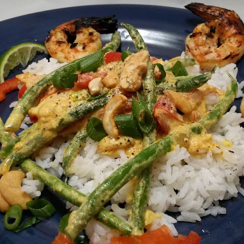 Grilled Shrimp with Coconut Cashew Curry