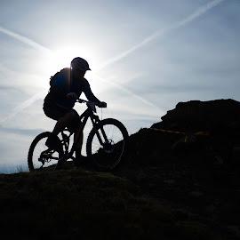 by Nick Moor - Sports & Fitness Cycling ( rider, sky, racing, mtb, silhouette, mountain bike, enduro, sun )