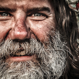 One Feather of East Beach by Bill Banning - People Street & Candids ( beard, smile, closeup, portrait, street photography )