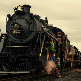 Tending to the Southern 630 by Greg Booher - Transportation Trains ( southern 630, engine, locomotive, virginia, long exposure, men, dusk, bristol, steam, motion blur )