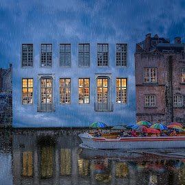 Inspired by Magritte by Katherine Rynor - Digital Art Places ( twilight, buildings, reflections, boat, people, rain, ghent )
