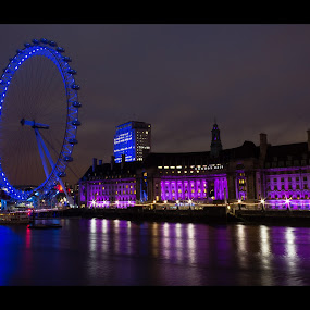 Millenium blue by Kev Bates - City,  Street & Park  Skylines ( sealife, thames, london, blue, millenium, pink, night, eye )