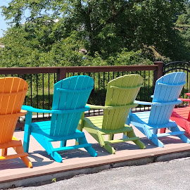 Adirondack Chairs by Rita Goebert - Artistic Objects Furniture ( amish country; adirondack chairs; colorful chairs,  )
