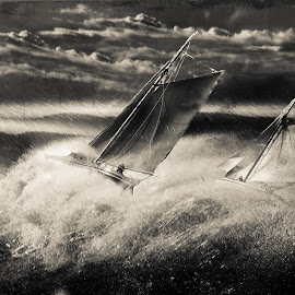 by Svein I. Ask - Transportation Boats ( water, clouds, wind, sailing, waves, boats, storm )