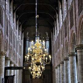 Interior Oude Kerk Delft 3 by Anita Berghoef - Buildings & Architecture Places of Worship ( interior, chandelier, oude kerk, pilar, the netherlands, place of worship, architectural, architectural detail, architecture, pilars, delft )