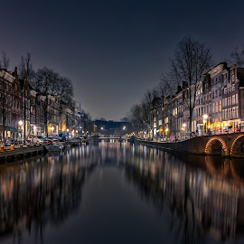 Herengracht Amsterdam by Michael van der Burg - City,  Street & Park  Street Scenes ( canals, reflection, north holland, grachten, herengracht, night photography, holland, long exposure, night, amsterdam, netherlands, nightscape )