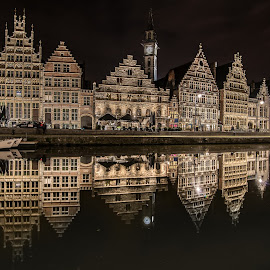 Beautiful Ghent reflection by Ajay Kumar - City,  Street & Park  Historic Districts ( gent, building, reflection, europe, night photography, night, belgium, architecture, nightscape, ghent,  )