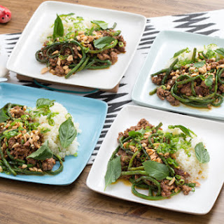 Korean Bulgogi-Style Lamb & Beef with Sticky Rice & Long Beans