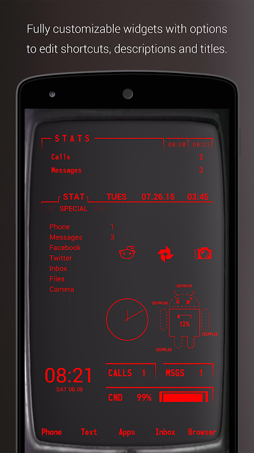 PipTec Red Icons & Live Wall Screenshot 0