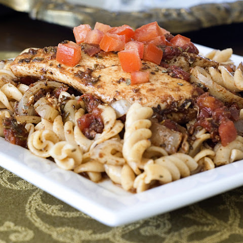 Balsamic Chicken Fillets over Whole Grain Pasta