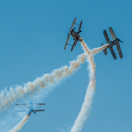 Crossover by Johan Jooste Snr - Transportation Airplanes ( aeroplanes, pitts s28 biplanes, smoke, namibia, air show )