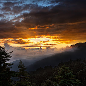 Top of Bhutan Sunrise by Joseph Goh Meng Huat - City,  Street & Park  Vistas ( hills, mountains, bhutan, top of bhutan sunrise, travel, sunrise, landscape, singapore, rays )