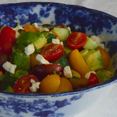 Tomato Cucumber Salad with Avocado and Feta