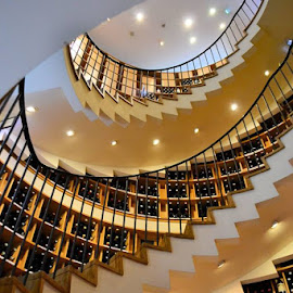 The wine seller by Heather Aplin - Buildings & Architecture Other Interior ( wine, shop, staircase, rail, banister, spiral, bottles, light )