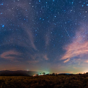 Night sky by Petar Shipchanov - Landscapes Starscapes ( clouds, sky, stars, star, night, landscape, panorama )