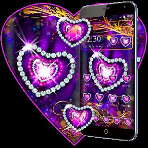 Purple Diamond Heart Theme For PC / Windows 7/8/10 / Mac – Free Download