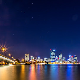 Swan magic by Robbie Bodington - City,  Street & Park  Skylines ( perth, night, nightscapes, river, city, city at night, street at night, park at night, nightlife, night life, nighttime in the city )