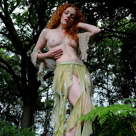 by DJ Cockburn - Nudes & Boudoir Artistic Nude ( skirt, natural light, nude, topless, nature, woman, forest, redhead, ivory flame )