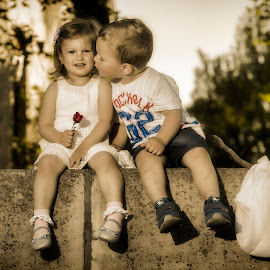 First kiss by Nick-Nikola Mraovic - Babies & Children Child Portraits ( kiss, train station, girl, children, boy )
