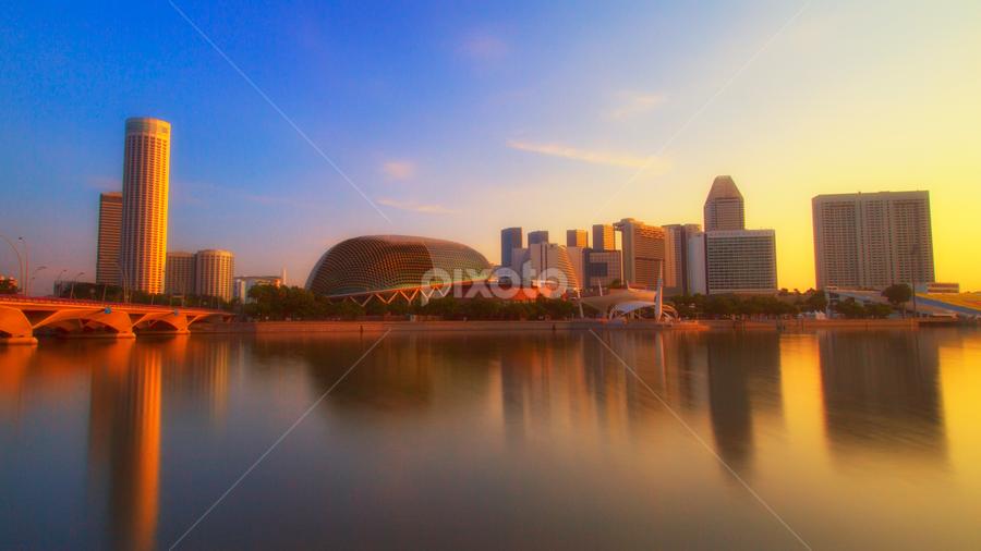 Sunrise at the Marina Bay by Rafael Uy - City,  Street & Park  Skylines ( sunrise, bridge, sg, esplanade, marina bay, singapore )