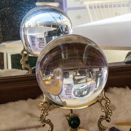 Crystal Ball Reflection by Julie Wooden - Artistic Objects Glass ( mirror, reflection, north dakota, crystal ball, hebron, still life, indoors,  )