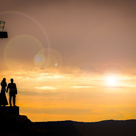 Sunset by Pero Perković - Wedding Bride & Groom ( love, sunset, bride and groom, marriage, together )