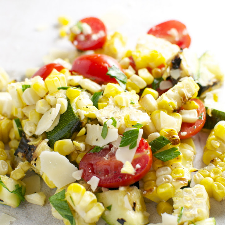 Grilled Corn and Zucchini Salad with Tomatoes and Parmesan Cheese ...