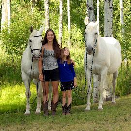 Love bugs by Giselle Pierce - Babies & Children Children Candids ( girls, cowboy boots, girl, horses, horse, trees, summer, children, portrait, kid )