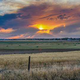 Fiery Sky by Joe Machuta - Landscapes Prairies, Meadows & Fields