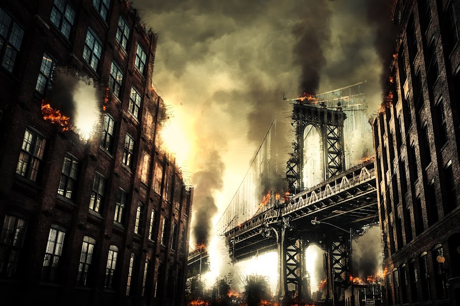 Manhattan bridge Apocalypse by Lars Keßler - Digital Art Places ( reflection, america, brick, street, architecture, nyc, historic, city, alley, sky, metal, roadwork, building, suspension, manhattan, dumbo, new york, steel, urban, landmark, narrow, window, manhattan bridge, blue, outdoor, cables, manhattan-bridge, architectural, new york city, bridge, infrastructure, neighbourhood, brooklyn )