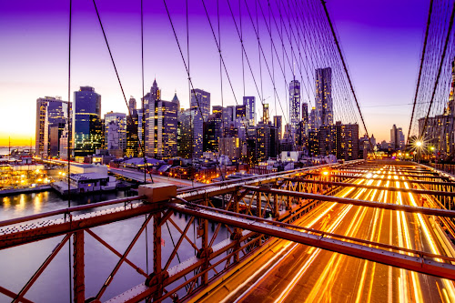 Twilight by Arnab Dutta - City,  Street & Park  Skylines ( brooklyn bridge, manhattan skyline, twilight, long exposure, manhattan, new york city, new york, long )