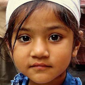 SOFT FACE, DARK EYES by Doug Hilson - Babies & Children Child Portraits ( golden temple, little girl, dark eyes, punjab, india, doug hilson, head scarf, portrait,  )