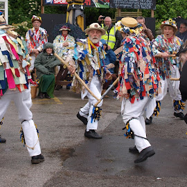 Is That Morris Dancing Over There by Gillian James - People Musicians & Entertainers ( dancing, morris men, summer, rain, morris dancing )