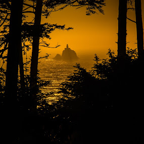 Tillamook Rock Lighthouse by Brent Huntley - Landscapes Sunsets & Sunrises ( sillhouette, oregon, brentsfavoritephotos.blogspot.com, park, silhouette, tillamook, ecola, lighthouse, state, rock, ocean, northwest, seascape, scenic, travel, seaside, glow, landscape, tamron, photography, coast, sky, sunset, terrible tilly, nikon, golden )