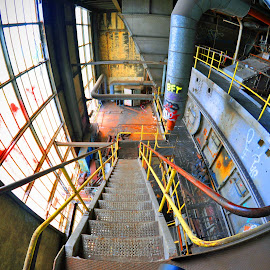 Downstairs by Marco Bertamé - Buildings & Architecture Other Interior ( hall, stairway, arbed, esch/alzette, yellow, decayed, steel, industry, downstairs, luxembourg )