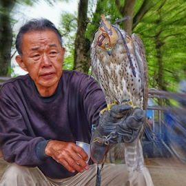 Birdman by Ferdinand Ludo - People Portraits of Men ( birdman, japan, outside of the castle, osaka castle, hawk )