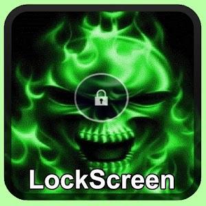 Green Fire Skull Wallpaper Lock Screen