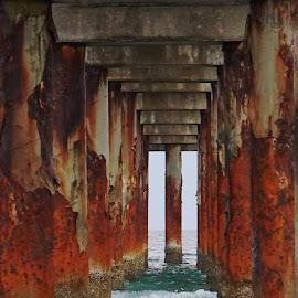Peer into the Pier by Alycia Marshall-Steen - Buildings & Architecture Bridges & Suspended Structures ( pier framing ocean, atlantic ocean, framed, pier, pld florida )