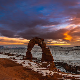 Delicate Arch by Kyle Kephart - Landscapes Caves & Formations ( clouds, arch, park, delicate, utah, sunset, national, arches )