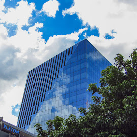 Building reflection by Mark Luyt - Buildings & Architecture Office Buildings & Hotels ( sky, blue, city, offices, clouds )
