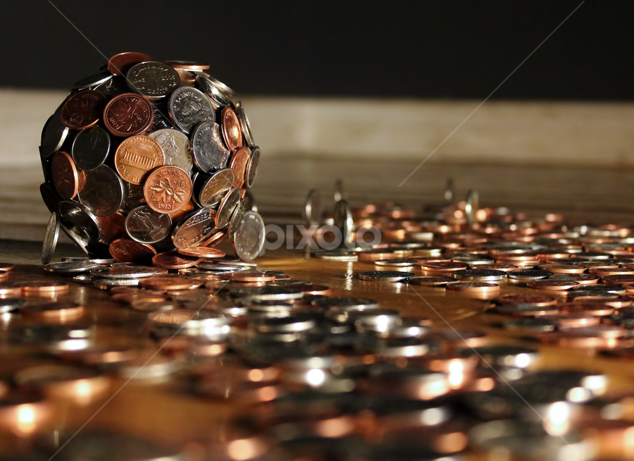 It All Adds Up by Julie Quesnel - Artistic Objects Other Objects ( ball, roll, stick, gather, pwccoins, coin, silver, money, add )