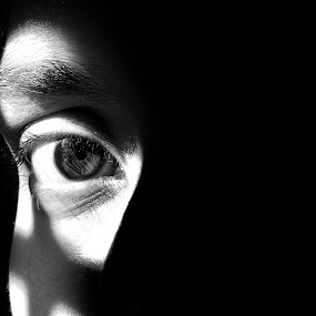 EYE by Saptarshi Mandal - People Body Parts ( black and white, shadow, dark, men, light, portrait, eyes, gary fong, self portrait, selfie )