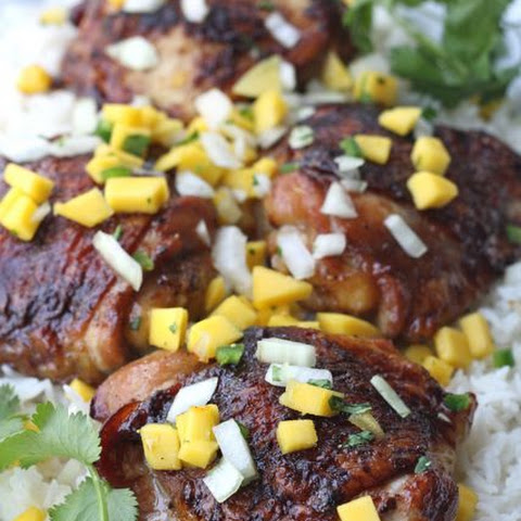 Polynesian Chicken Thighs with Mango Salsa
