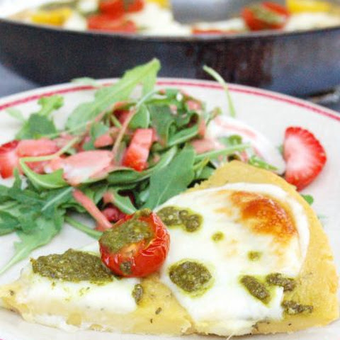 Farinata with Tomato, Mozzarella, and Pesto Drizzle